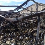 fire damaged building with extremely hazardous asbestos